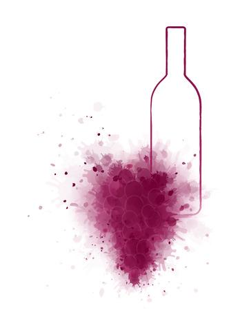wine grape: linear wine bottle with art grape splash