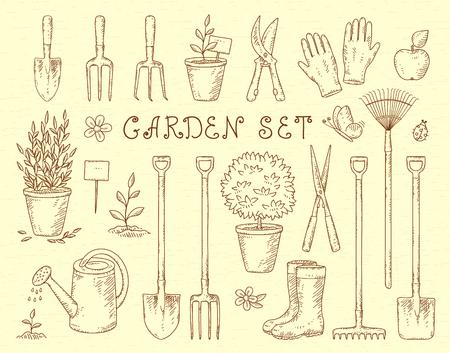 Vintage Skizze Satz von Hand gezeichnet Gartenarbeit Werkzeuge