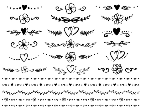 set of floral design elements