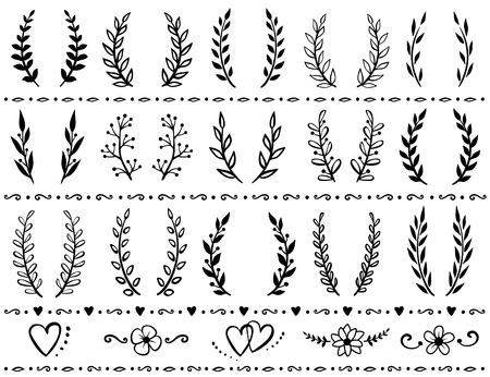 Conjunto de coronas con ramas Foto de archivo - 70946522