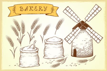 sheaf: Bakery set.