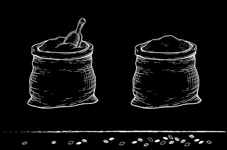caryopsis: chalk sacks with flour and grain