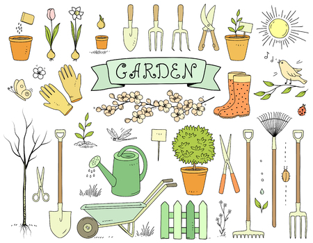 Colorful hand drawn garden tools set vector illustration