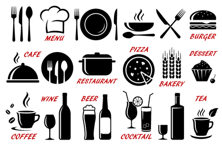 Set of restaurant, cafe icons silhouettes illustration.