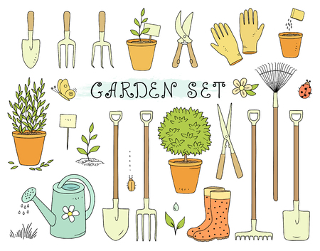 Colorful set of garden equipment.