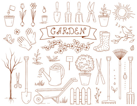 spring garden and set of tools