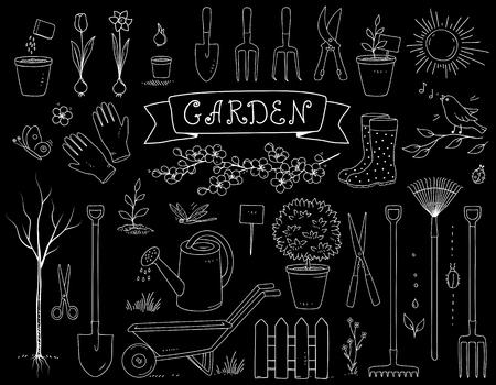 Hand drawn chalk garden tools set Illustration