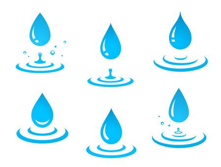 blauwe waterdruppels set en plons Vector Illustratie