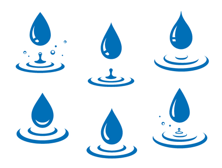 Blue water drops icons set and splash Illustration