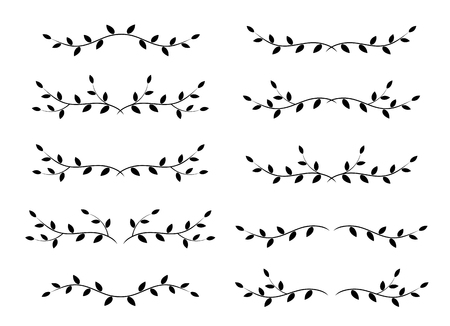 set of tree branches borders Illustration