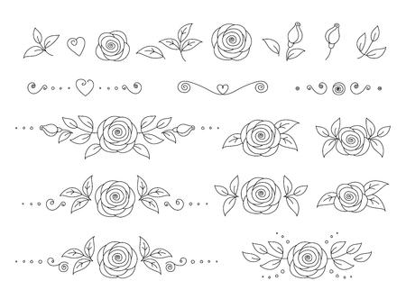 art hand drawn set of rose flower icons Illustration