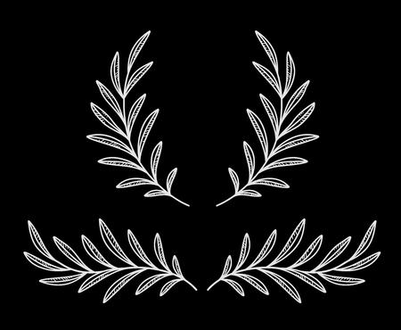 Olivenzweigkranz nach Kreideart, Lorbeerteiler mit Blättern