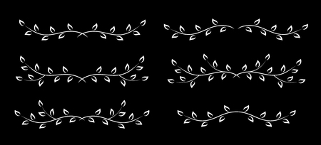 set of decorative white borders with hand drawn tree branches and leaves on black background
