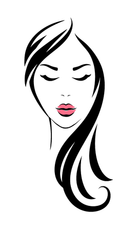woman head with long hair and pink lips Vectores