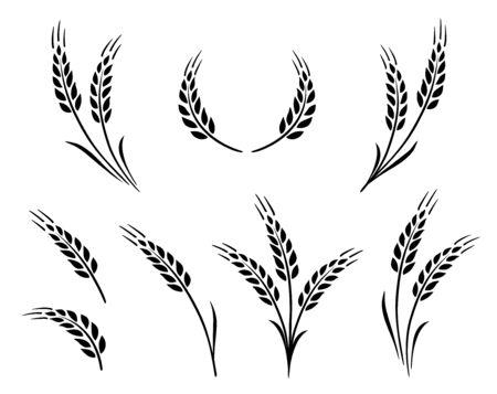 bakery set of wheat ears icon