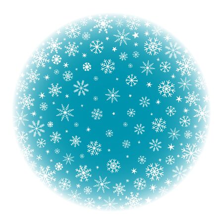 blue snow ball background with snowflakes with hand drawn winter pattern