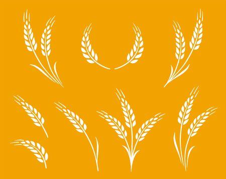 natural white wheat ears icon logo set