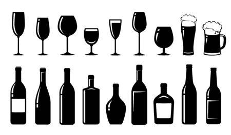 ensemble alimentaire de bouteilles d'alcool et de verres
