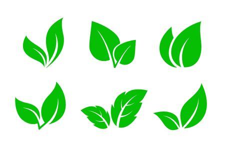 set of green leaves iconsset of green leaves icons