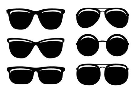 schwarze glänzende Sonnenbrille Sommer Set Icons und Brille Silhouette auf weißem Hintergrund