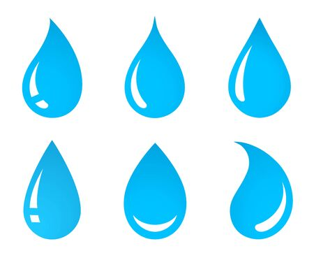 blue abstract water droplet with reflection set icons