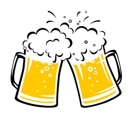 two hand drawn clinking beer mugs with foam