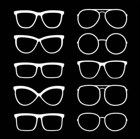 set of white glasses and sunglasses silhouette Vector Illustratie