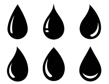 graphic set of black drop icons on white