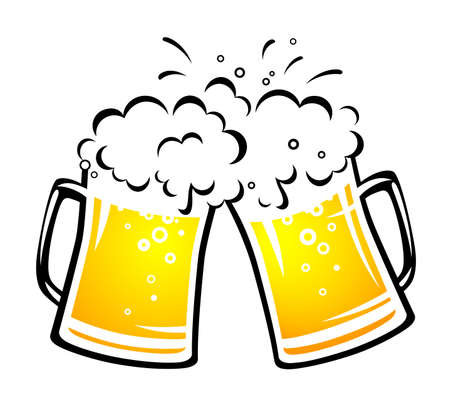 two bright beer mugs with foam and droplets