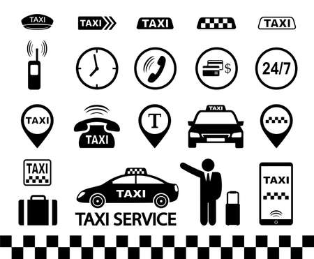 transport set of black taxi icons with car