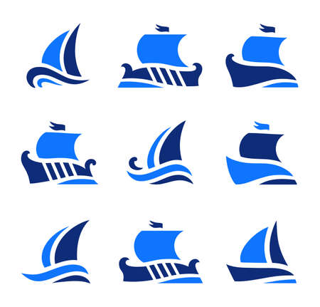 set icons of historic greek sailboats in sea