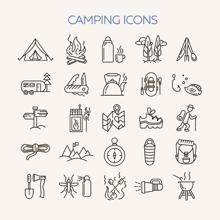 repellent: Collection of 25 camping outline icons in light background. Tourism and hiking objects set: tent, bonfire,  , backpack, folding knife, matches, map, kettle, mosquito repellent flashlight Illustration