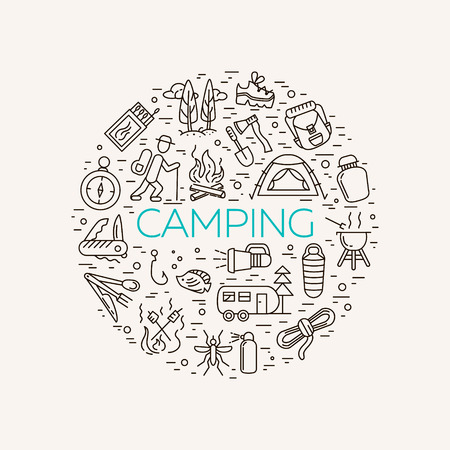 repellent: Collection of camping outline icons in light background. Tourism and hiking objects in circle: tent, bonfire,  , backpack, folding knife, matches, map, kettle, mosquito repellent flashlight Illustration