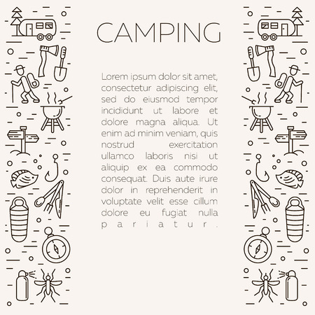 repellent: Collection of camping outline icons with place for text. Tourism and hiking objects set: tent, bonfire, folding knife, matches, map, kettle, mosquito repellent, flashlight, compass Illustration