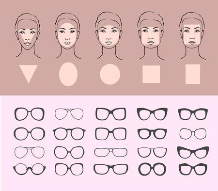 다른 얼굴에 대 한 선글라스의 아름다움 벡터 일러스트 레이 션. 5 개의 여성 얼굴 유형 : 원형, 타원형, 직사각형, 원형, 정사각형, 삼각형 일러스트