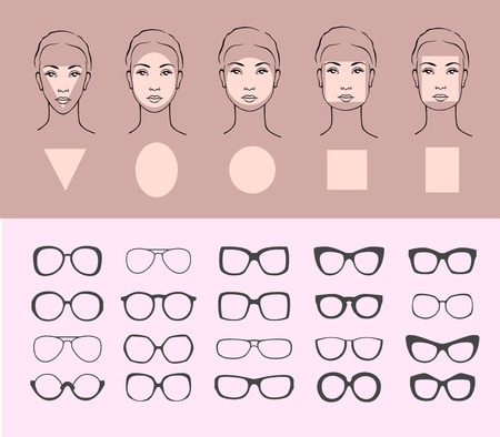 ilustración vectorial belleza de las gafas de sol para diversas caras. Cinco tipos femeninas de la cara: redonda, ovalada, rectángulo, círculo, cuadrado, triángulo