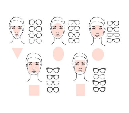 Beauty-Vektor-Illustration von Sonnenbrillen für verschiedene Gesichter. Fünf weibliche Gesicht Typen: rund, oval, Rechteck, Kreis, Quadrat, Dreieck