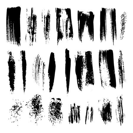 set of grunge dry brush line flourish stroke collection of