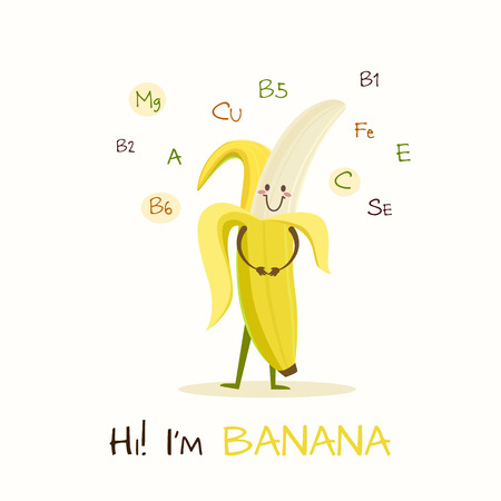 aliments droles: Illustration with funny character. Funny and healthy food. Vitamins contained in banana. Food with cute face. Vector cartoon. Illustration