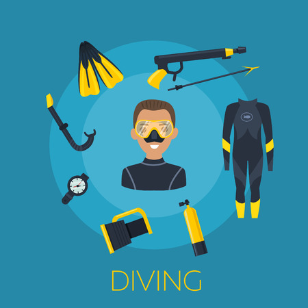 Underwater activity vector illustration. Scuba-diving elements isolated. Marine symbols. Diving equipment: mask, octo, fins, wetsuit, snorkel, tank lantern Scuba diving and underwater objects Illustration