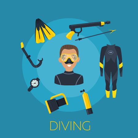 Unterwasser-Aktivität Vektor-Illustration. Tauchen Elemente isoliert. Marine-Symbole. Tauchausrüstung: Maske, octo, Flossen, Neoprenanzug, Schnorchel, Flasche Laterne Tauchen und Unterwasserobjekten