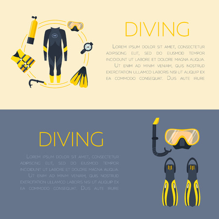 wetsuit: Underwater activity vector illustration. Scuba-diving elements isolated. Marine symbols. Diving equipment: mask, octo, fins, wetsuit, snorkel, tank lantern Scuba diving and underwater objects Illustration