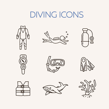swimming costumes: Diving line icons set. Underwater activity vector icons. Scuba-diving elements isolated. Summer concept . Marine symbols. Diving equipment. Scuba diving and underwater objects. Illustration