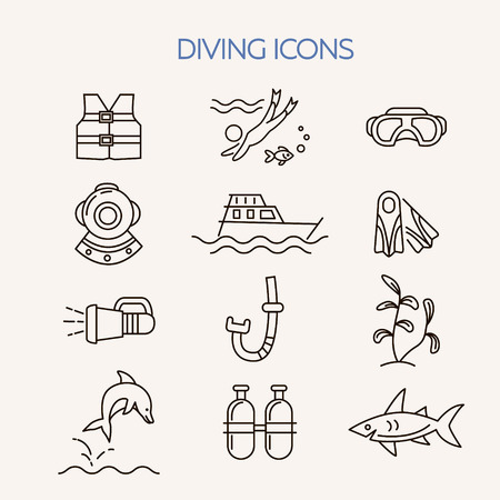 scubadiving: Diving line icons set. Underwater activity vector icons. Scuba-diving elements isolated. Summer concept . Marine symbols. Diving equipment. Scuba diving and underwater objects. Illustration