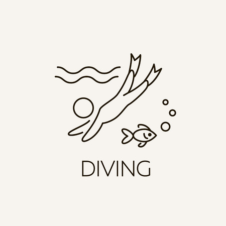 scubadiving: Marine symbol. Diving and underwater object. Summer concept illustration - scuba diving. Swimming underwater - summer vacation.