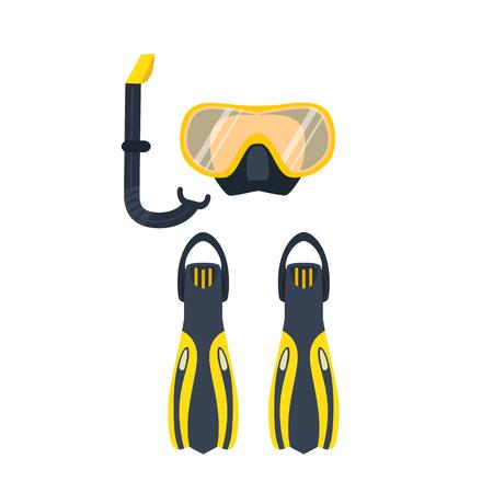 Illustration vectorielle de l'activité sous-marine. Les éléments de plongée sous-marine sont isolés. Symboles marins. Équipement de plongée: masque, ailettes, tuba. Plongée sous-marine et objets sous-marins. Vecteurs