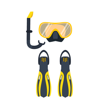 Underwater activity vector illustration. Scuba-diving elements isolated. Marine symbols. Diving equipment: mask, fins, snorkel. Scuba diving and underwater objects. Vector Illustration