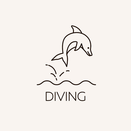 lifejacket: Marine symbol. Diving and underwater object. Summer concept illustration - dolphin jumping out of the water.