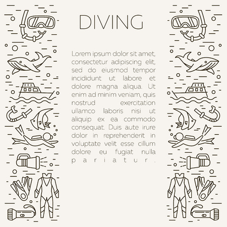 scubadiving: Diving icons. Underwater activity vector icons. Scuba-diving elements isolated. Summer concept - diving line icons. Marine symbols. Diving equipment. Scuba diving and underwater objects.