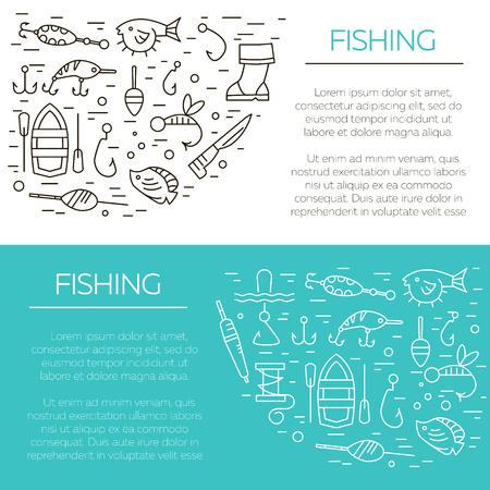 fishing line: Fishing icons set. Summer activity vector icons. Fishing elements isolated. Summer concept - fishing line icons. Marine symbols. Fishing equipment. Illustration